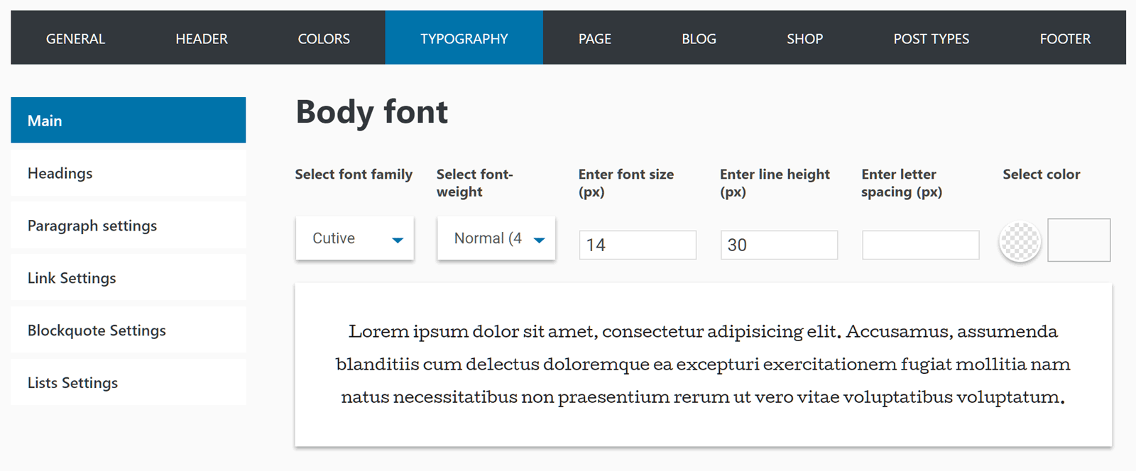 Fonts Options