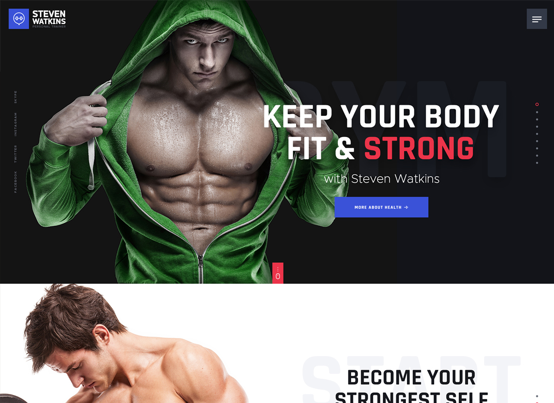 Personal Gym Trainer & Nutrition Coach WordPress Theme