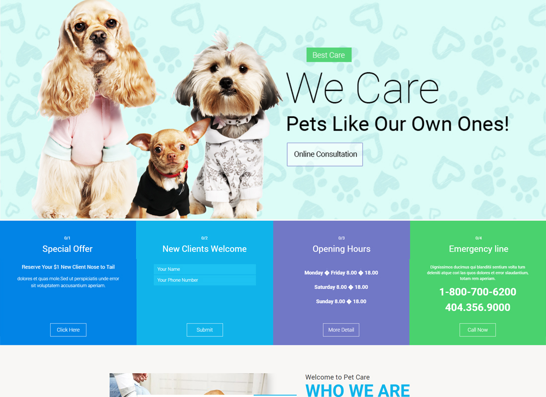 Pet Care - Pet Shop, Vet WordPress Theme