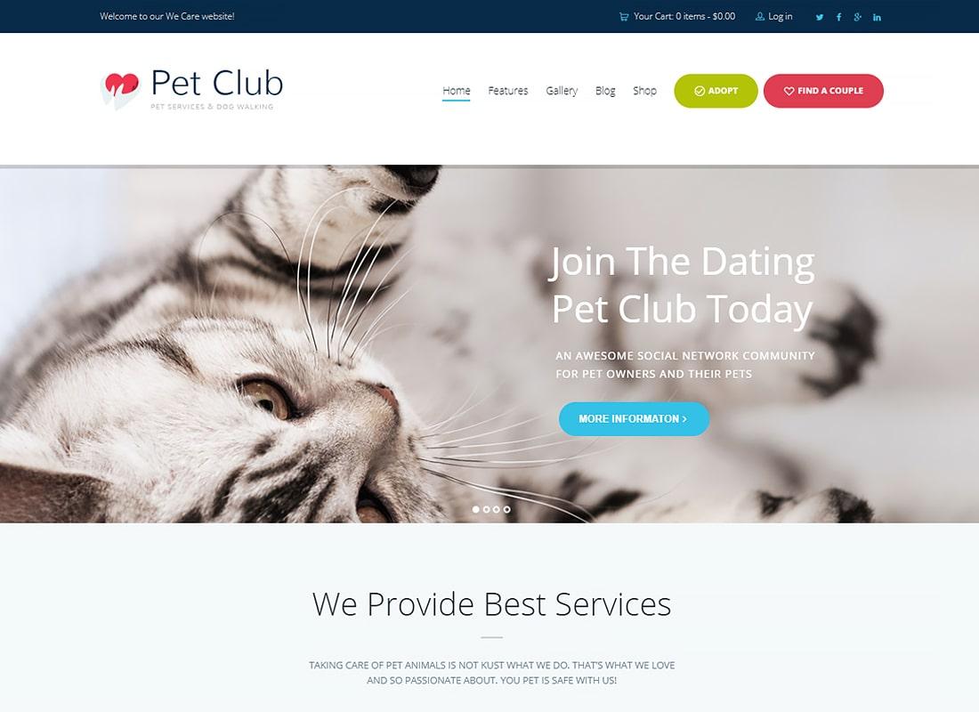 Pet Club - Services, Adoption, Dating & Community WordPress Theme