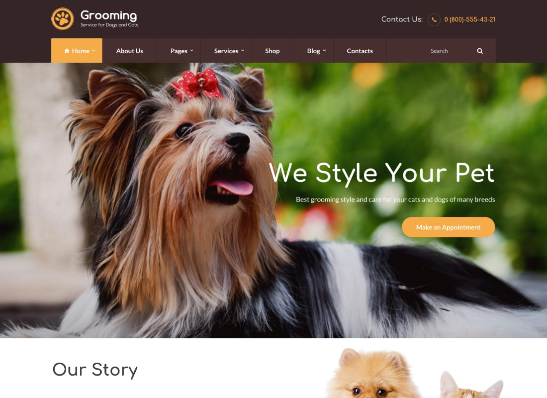 Pet Grooming | Pet Shop / Veterinary WordPress Theme