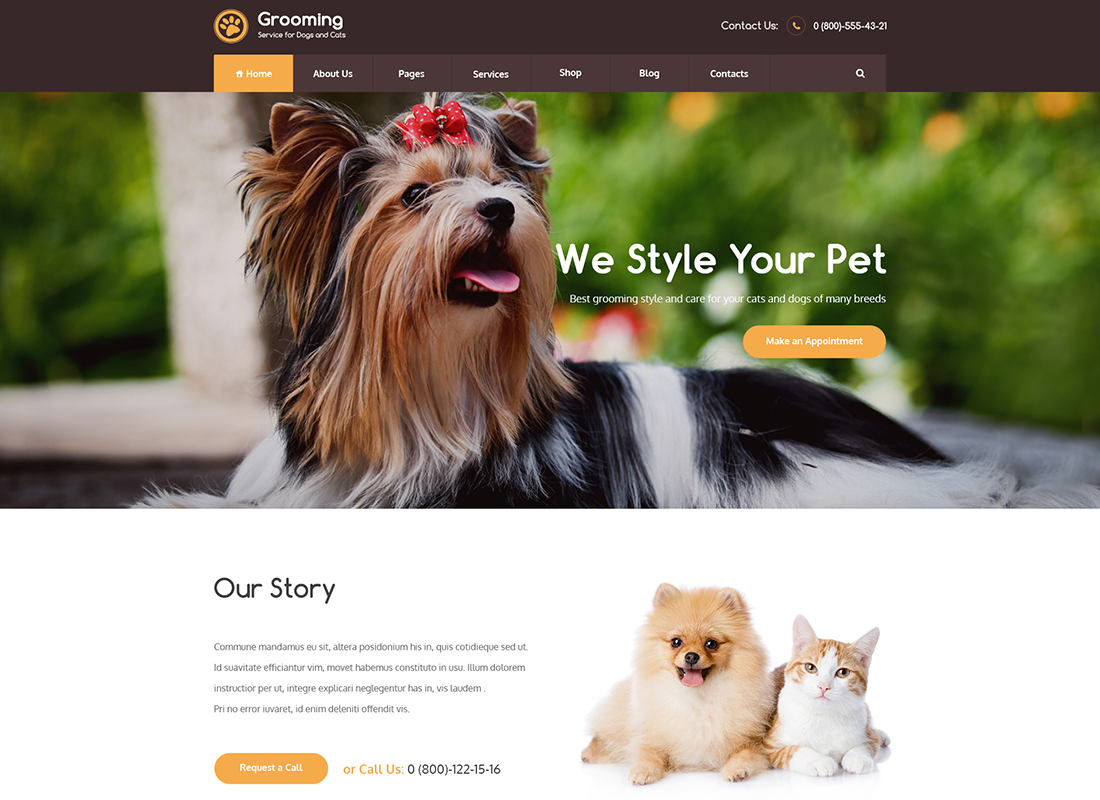 Pet Grooming / Pet Shop / Veterinary - WordPress Theme