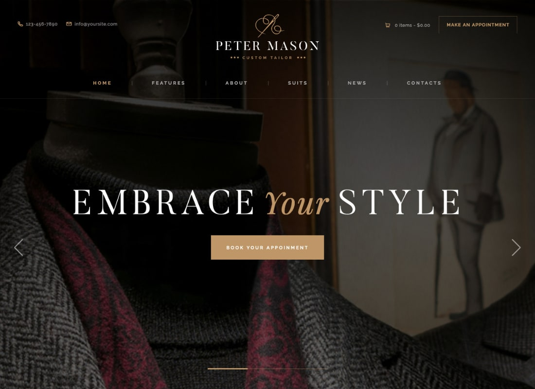 Peter Mason | Custom Tailoring and Clothing Store WordPress Theme