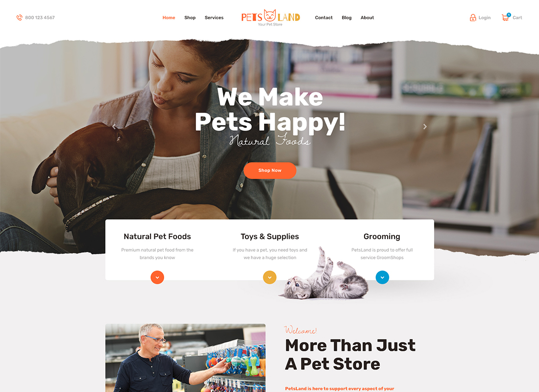 Pets Land - Pet Shop & Veterinary WordPress Theme