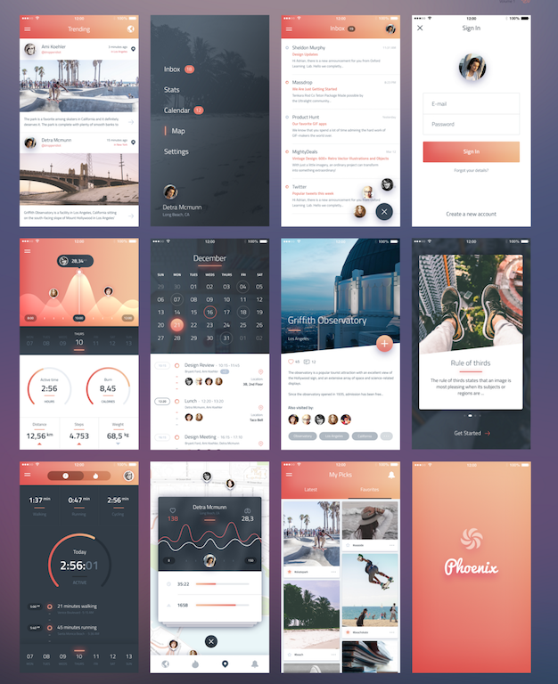 Phoenix UI- Vol 1 - for iPhone 6 : Free PSD