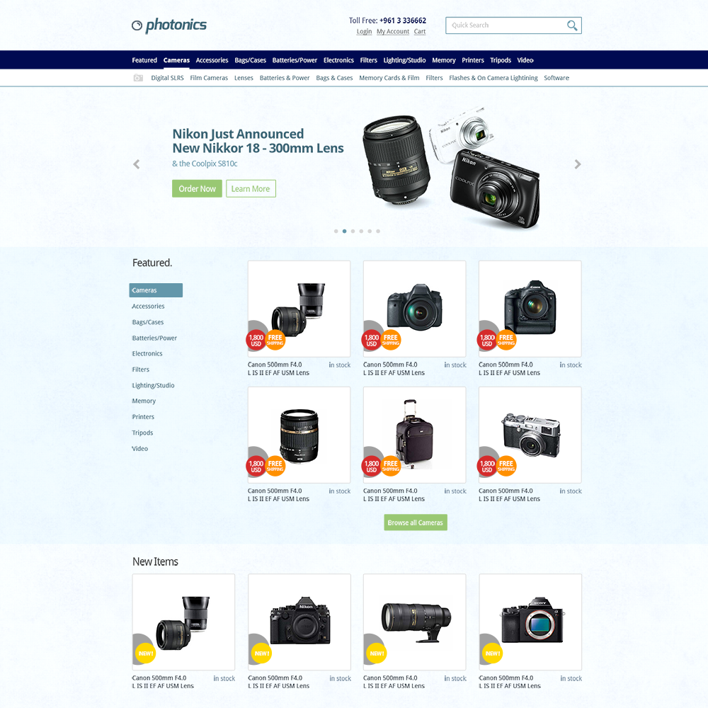 Photonics Free PSD eCommerce Template