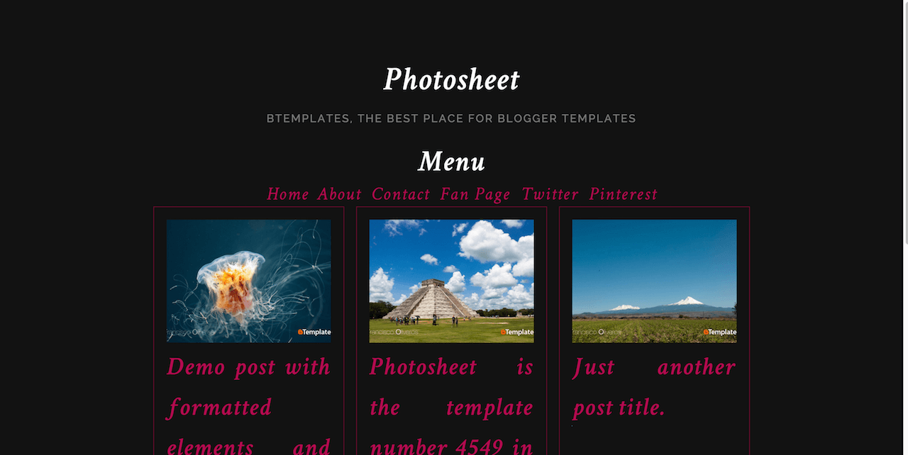 Photosheet Blogger template BTemplates