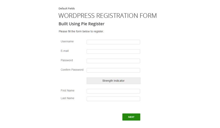 Pie Register