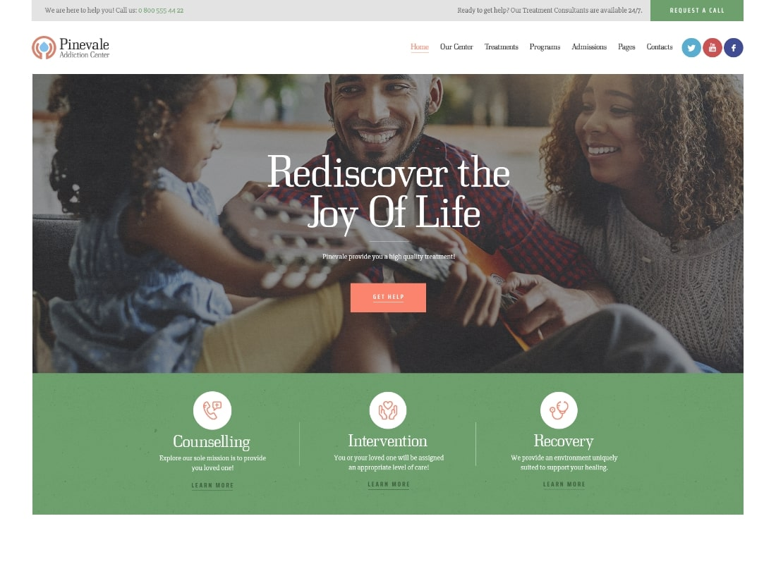Pinevale | Addiction Recovery and Rehabilitation Center WordPress Theme