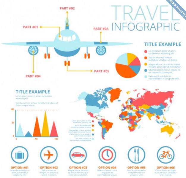 Plane and Travel Infographic Elements