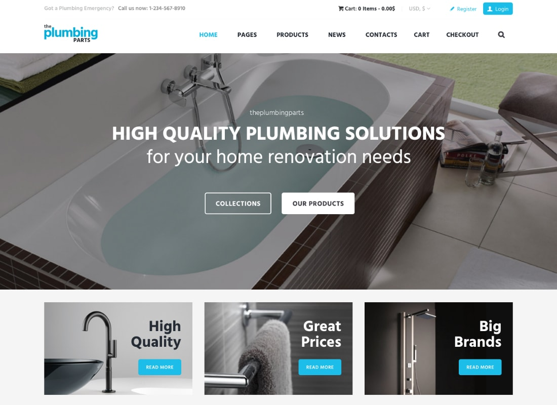 Plumbing Store | Plumbing and Building Parts, Tools & Accessories Store WordPress Theme