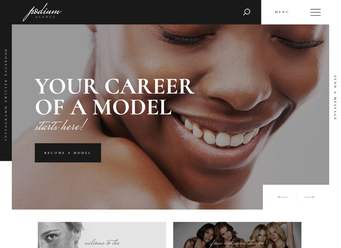 Podium | Fashion Model Agency WordPress Theme