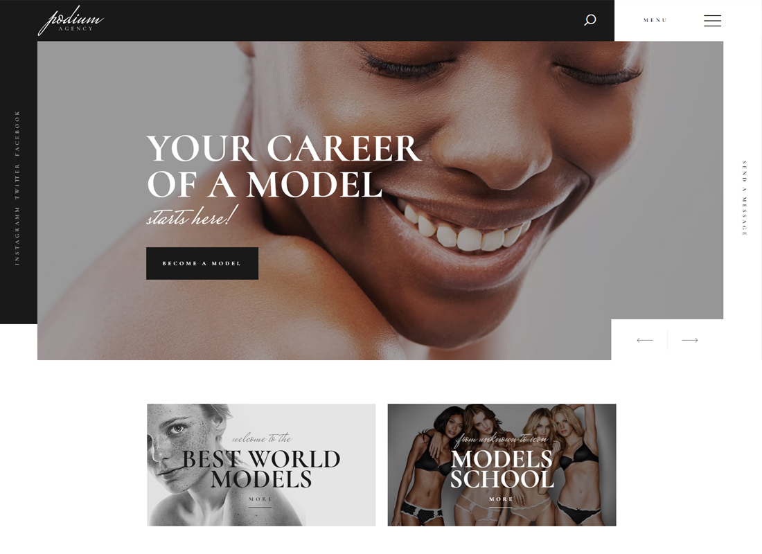 Podium - Model Agency WordPress Theme