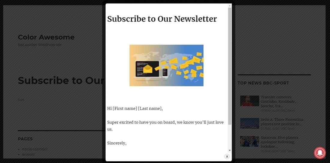 Popup Builder – Responsive WordPress Pop up – Subscription & Newsletter demo page