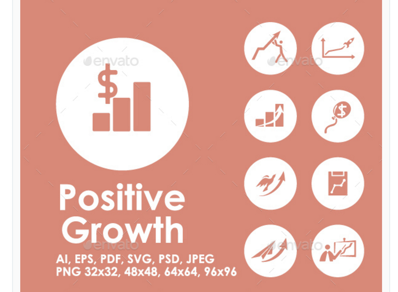 Positive Growth Icons for Businesses