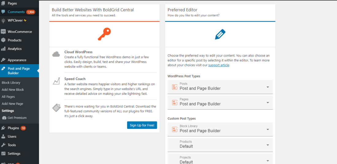 Post and Page Builder settings page