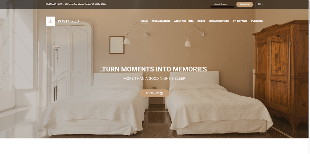 Postcard - hotel booking WP website design