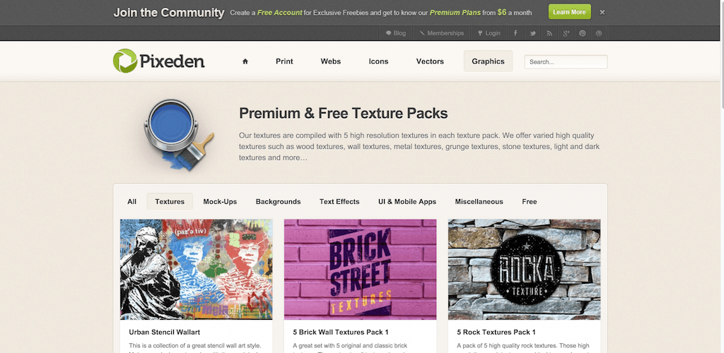Premium and Free Texture Packs Pixeden