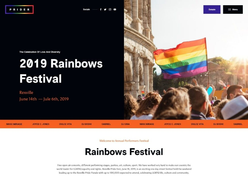 Prider   LGBT & Gay Rights Festival WordPress Theme + Bar
