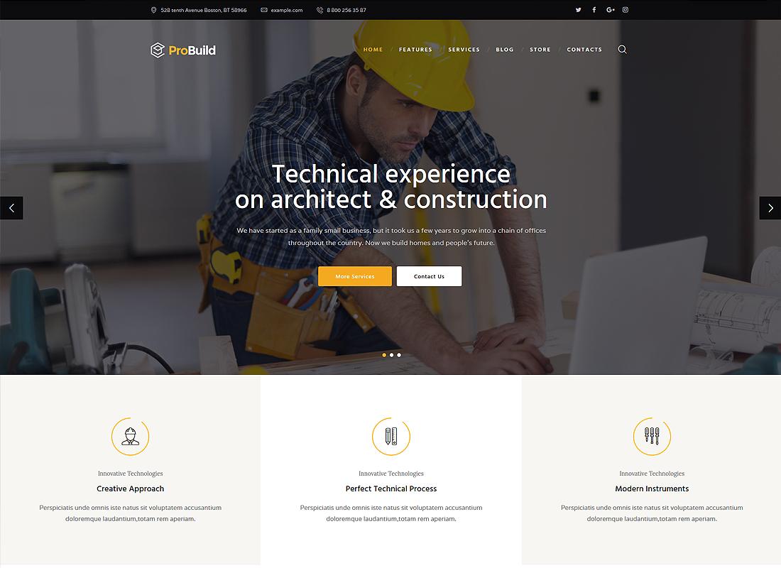 ProBuild | A Construction Business & Building Company WordPress Theme