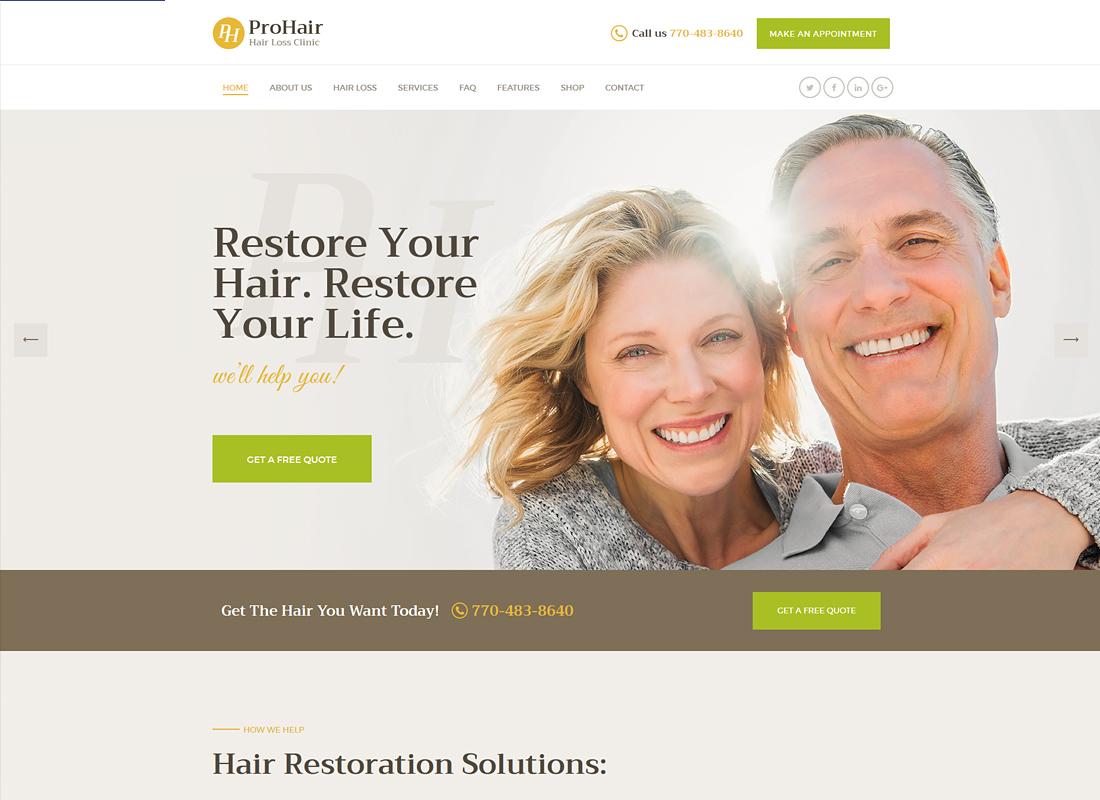ProHair - Hair Loss Clinic & Cosmetology WordPress Theme