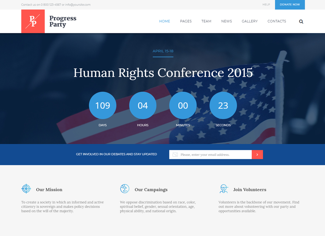 ProParty   A Clean Political WordPress theme