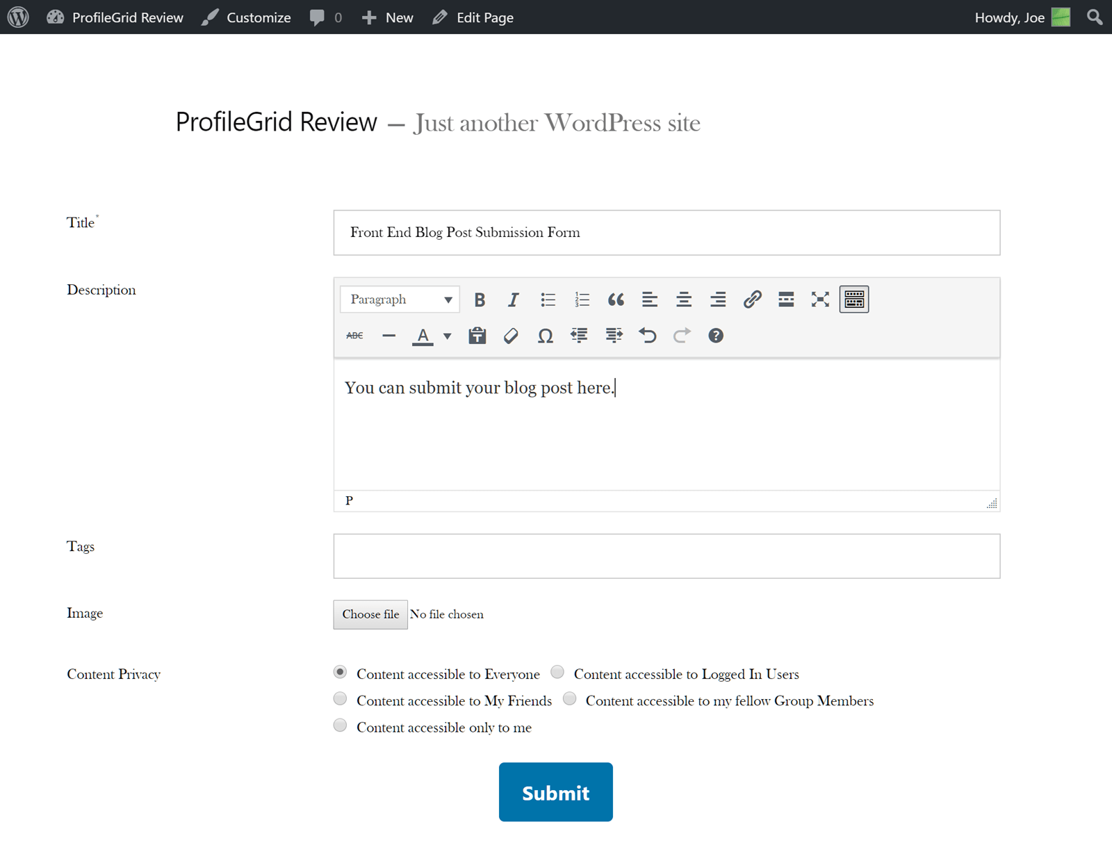 Frontend Post Form