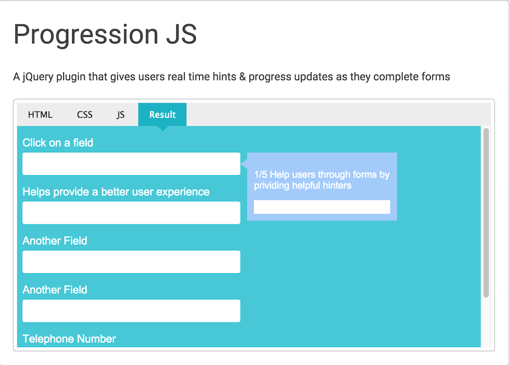 Progression JS jQuery Cards