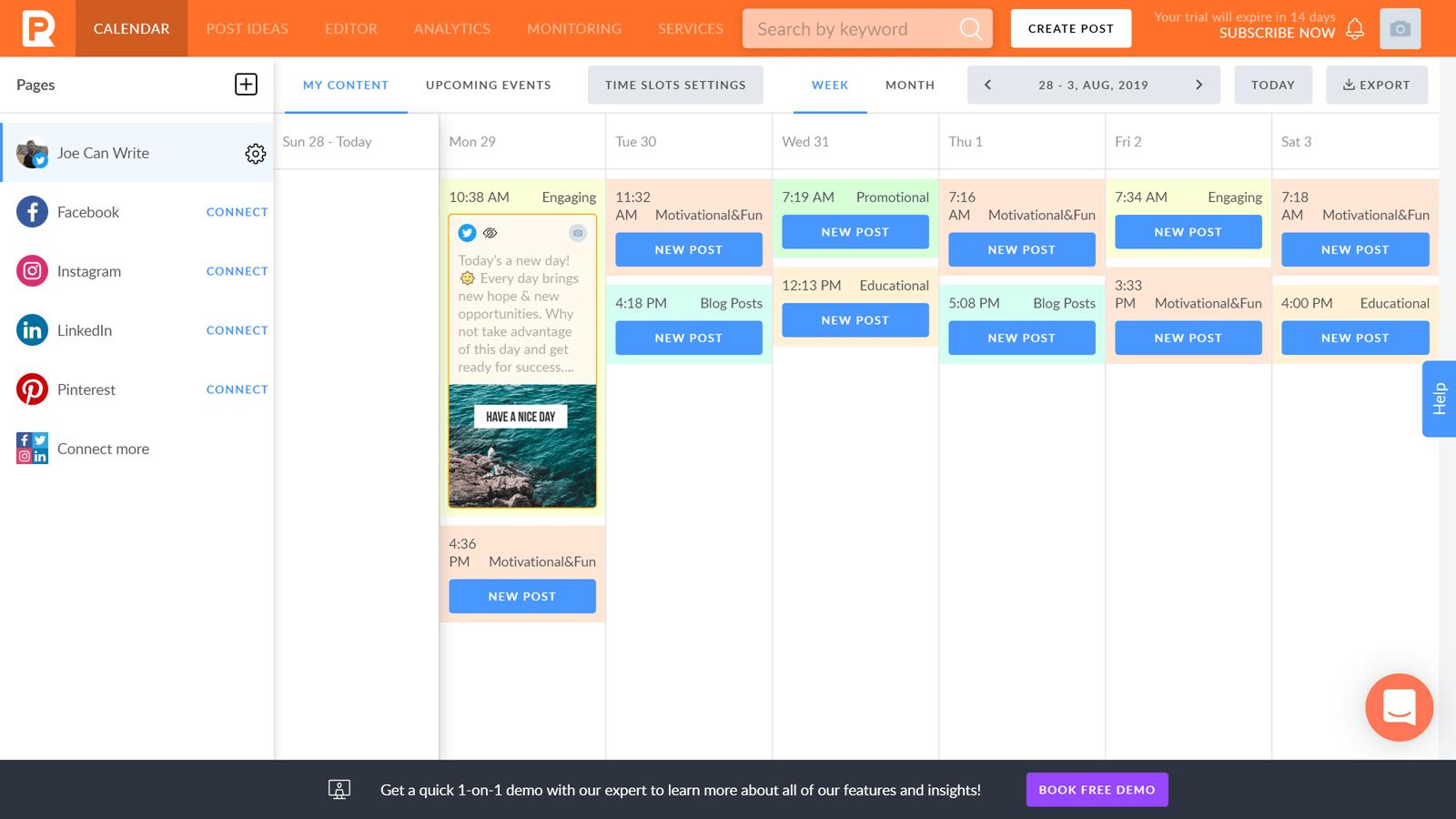 PromoRepublic Calendar
