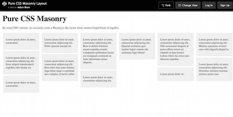 Pure CSS Masonry Layout