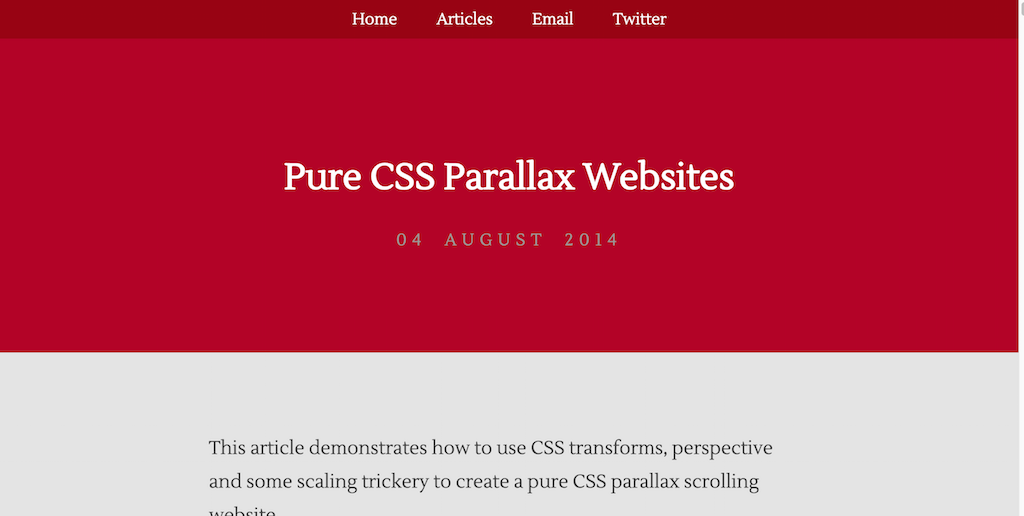 Pure CSS Parallax Websites
