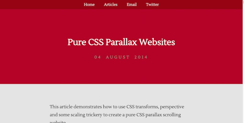Pure CSS Parallax Websites