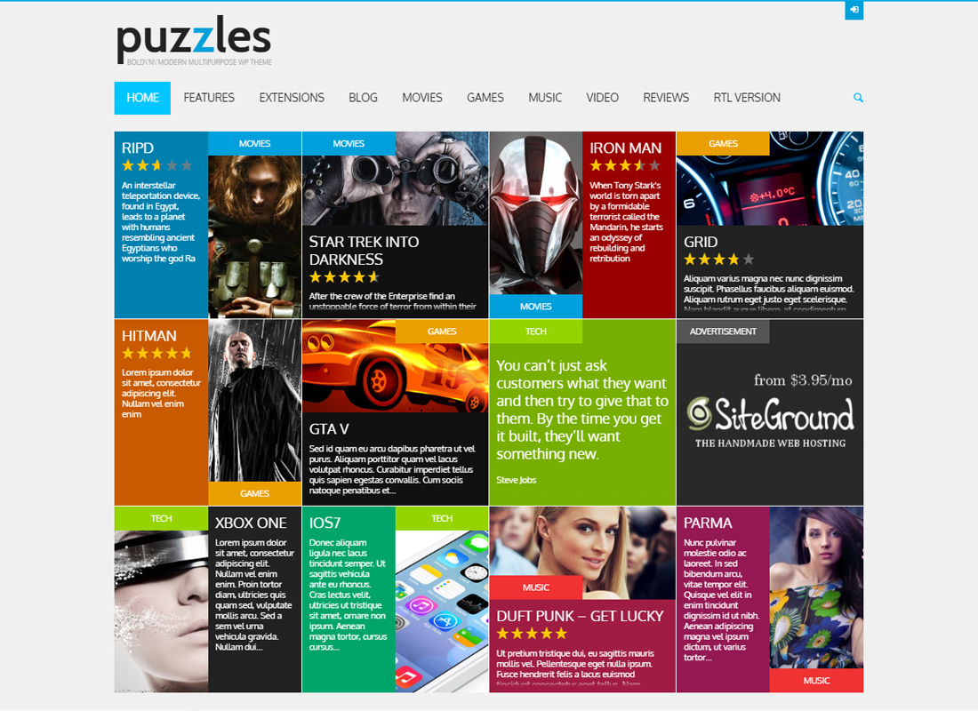 Puzzles - WP Magazine / Review with Store WordPress Theme + RTL