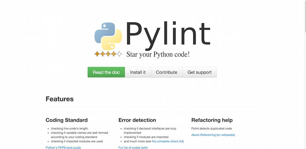 Pylint code analysis for Python www.pylint.org