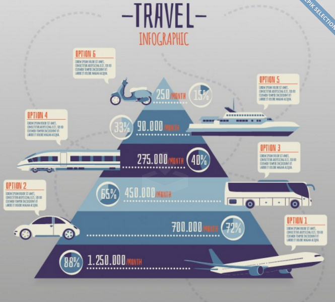 Pyramid with Transport Infographic