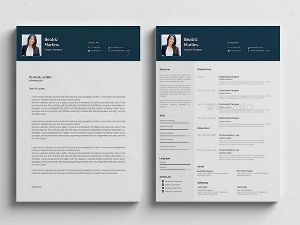 Beautiful RESUME BUNDLE GraphicRiver  Psd Resume Template