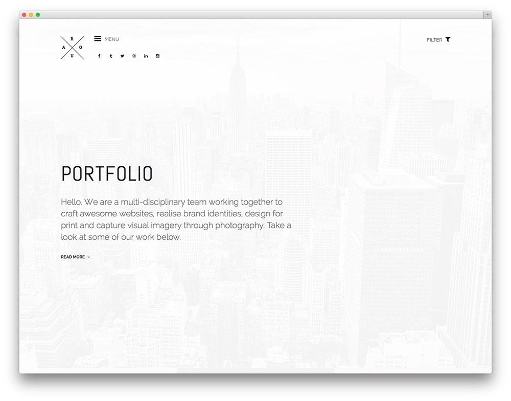 Best minimalist wordpress themes for creatives 2017 colorlib for Minimalist homepage