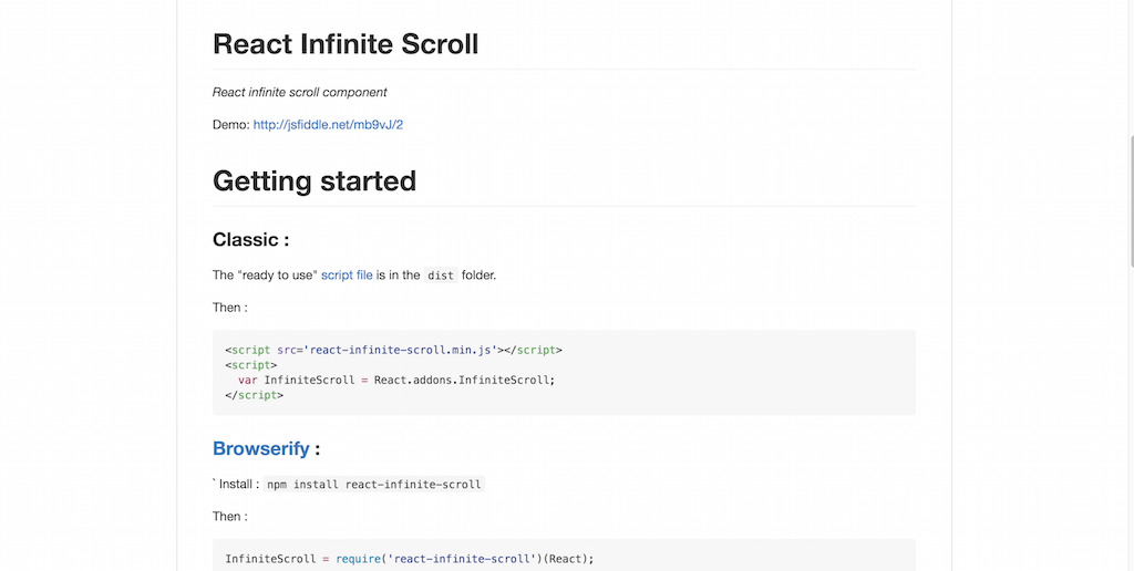 React Infinite Scroll