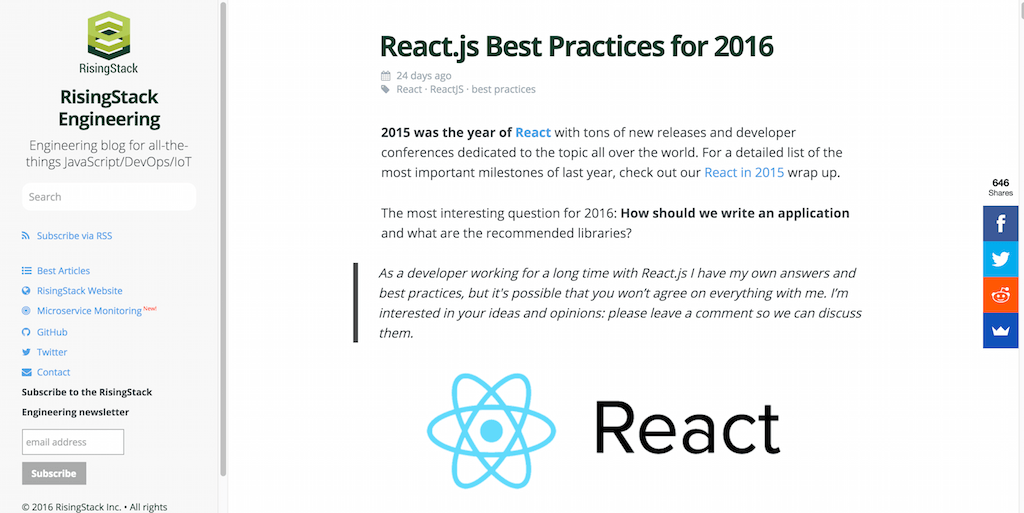React.js Best Practices for 2016 RisingStack
