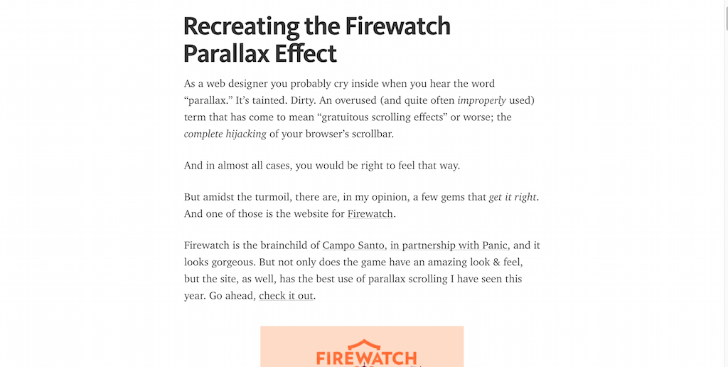 Recreating the Firewatch Parallax Effect