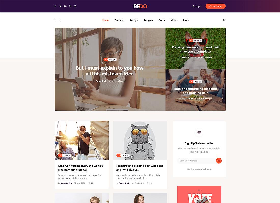 Redo   A Personal Blog, Magazine & Review Portal WordPress Theme