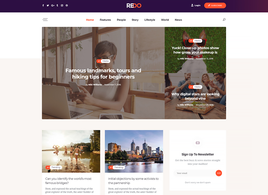 Redo - A Personal Blog, Magazine & Review Portal WordPress Theme