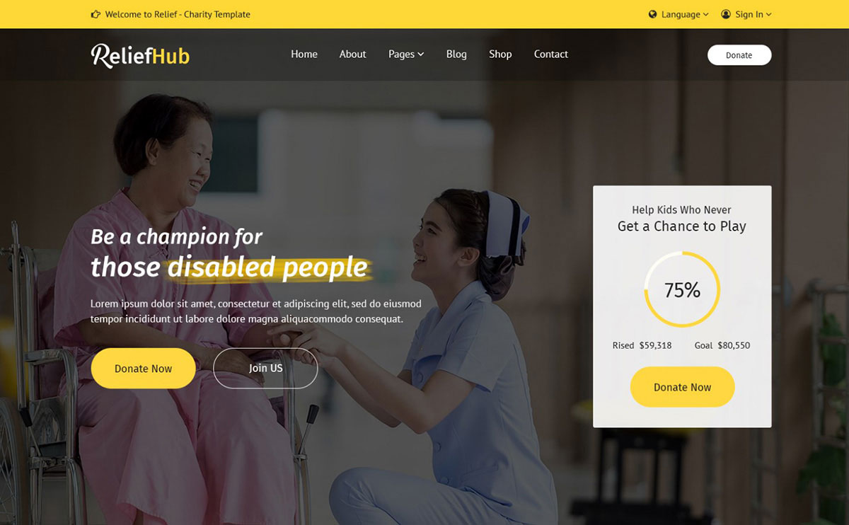 ReliefHub Charity PSD Website Template for non-government organizations image