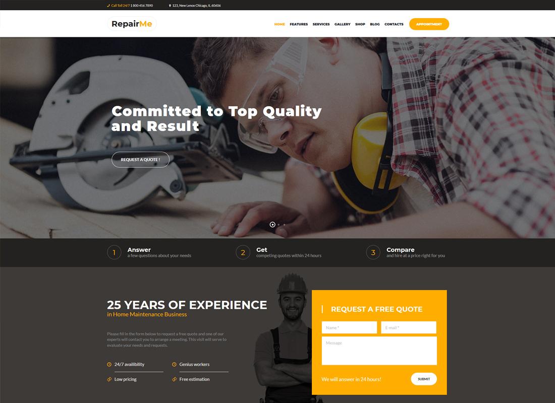 RepairMe | A Vibrant Construction & Renovation WordPress Theme