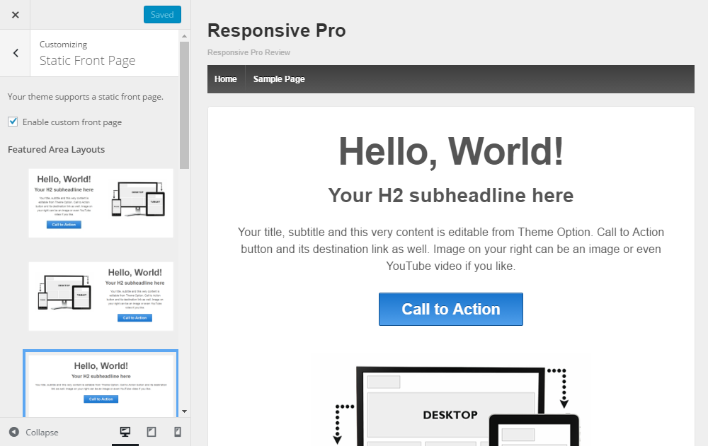 Responsive Pro Review Featured Area Layouts