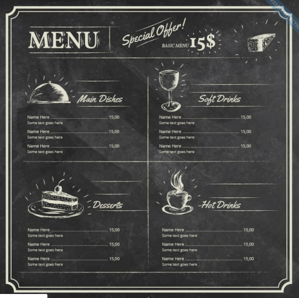 Restaurant Menu Template on Blackboard