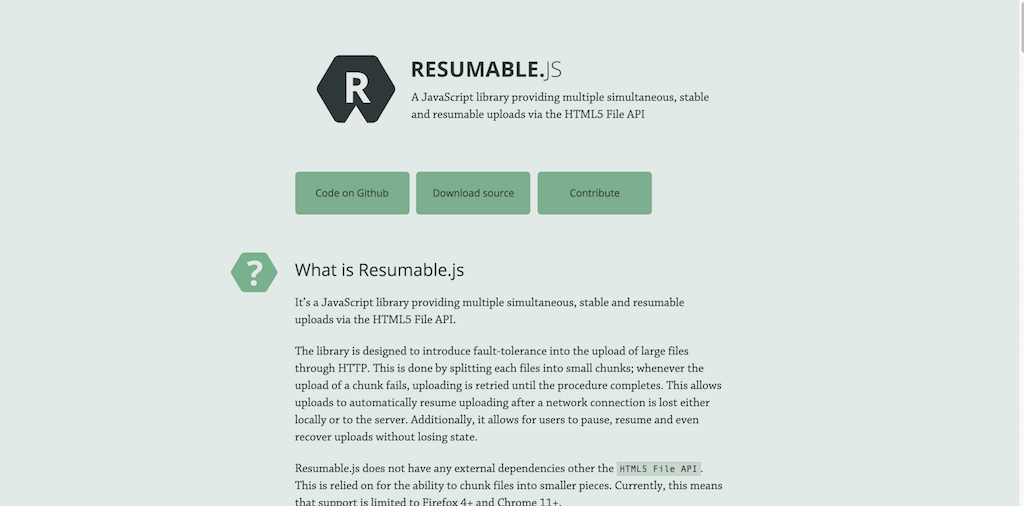 Resumable.js JavaScript magic for simultaneous stable and resumable uploads