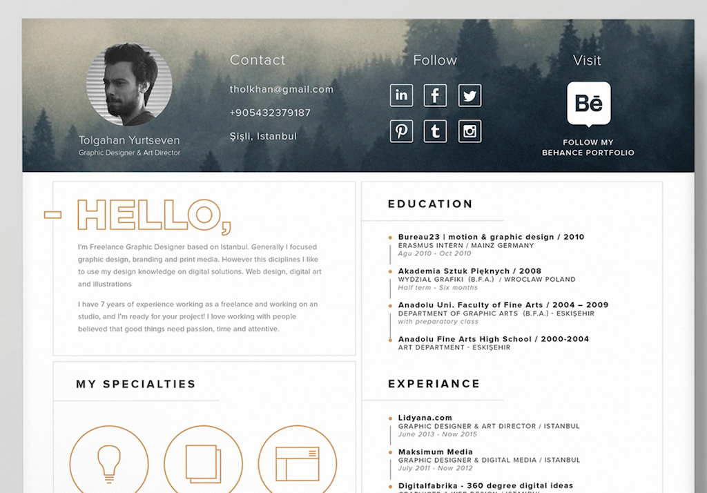Awesome Resume Template For Self Promotion (+Icons) By Tolgahan Yurtseven