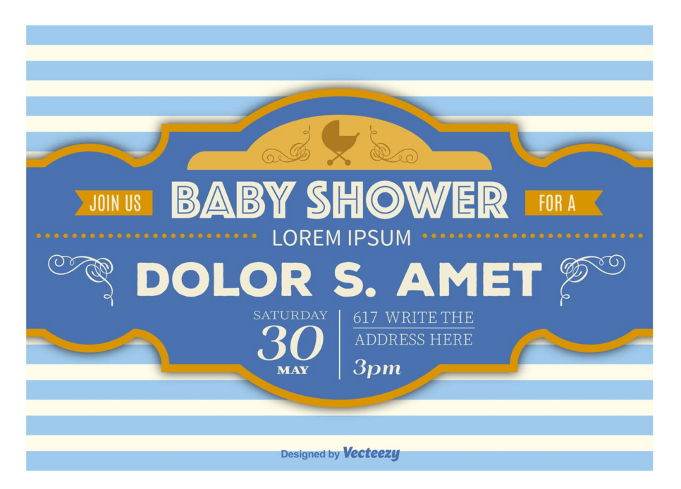 Retro Baby Shower Announcement Banner