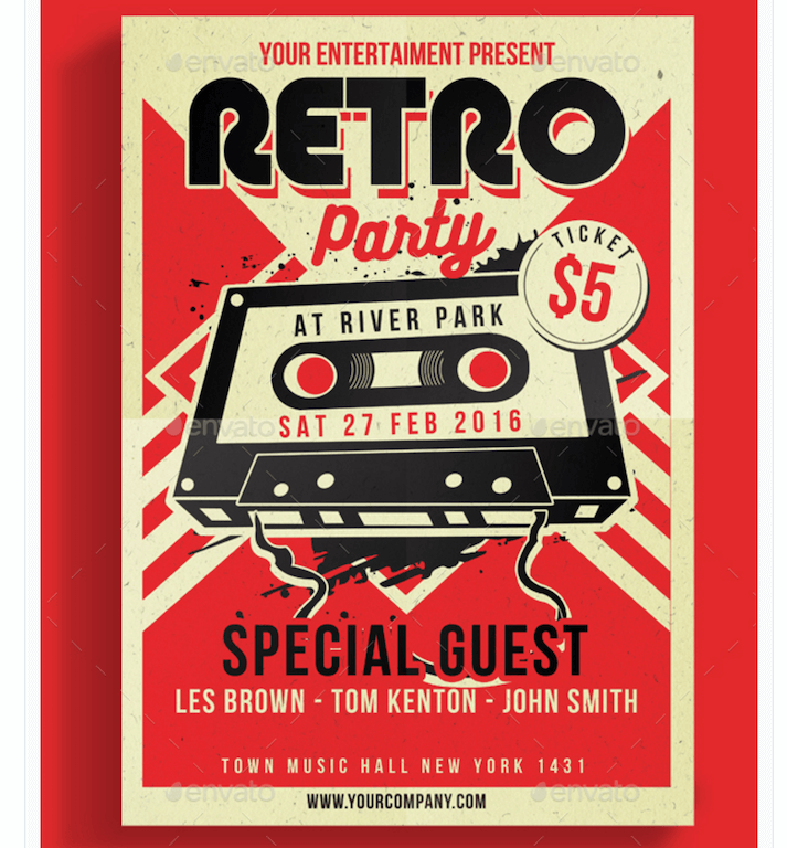 Retro Design Flyer for Parties